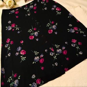 JONES NY Navy and Pink Floral Full Silk Skirt 18W